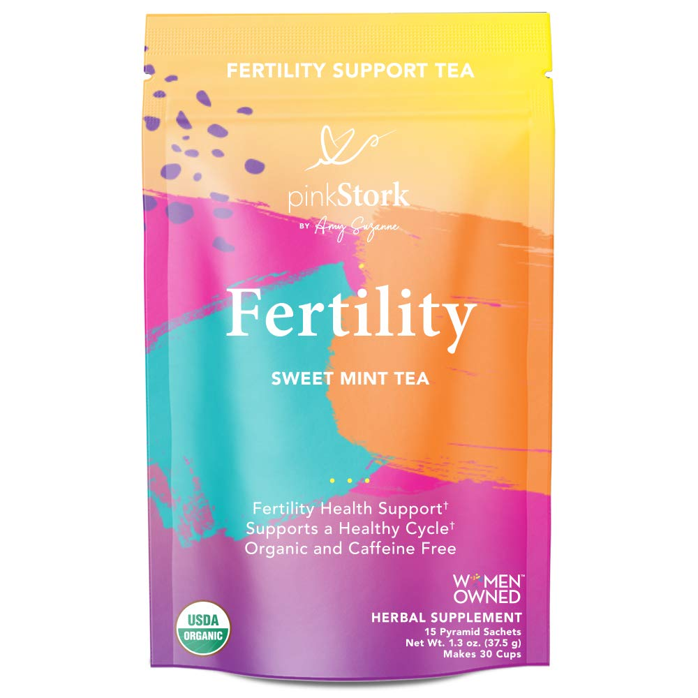 Pink Stork Fertility Tea: Sweet Mint, USDA Organic, Supports Prenatal Vitamins, Fertility + Hormones + Cycle, Women-Owned, 30 Cups