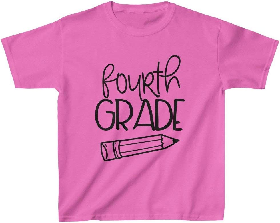 Pink, L Zik Smart Solution Pencil Fourth Grade Kids Heavy Cotton Tee