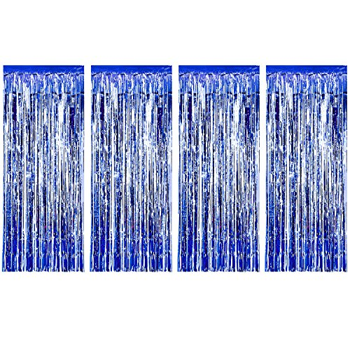 Sumind 4 Pack Foil Curtains Metallic Fringe Curtains Shimmer Curtain for Birthday Wedding Party Christmas Decorations Blue