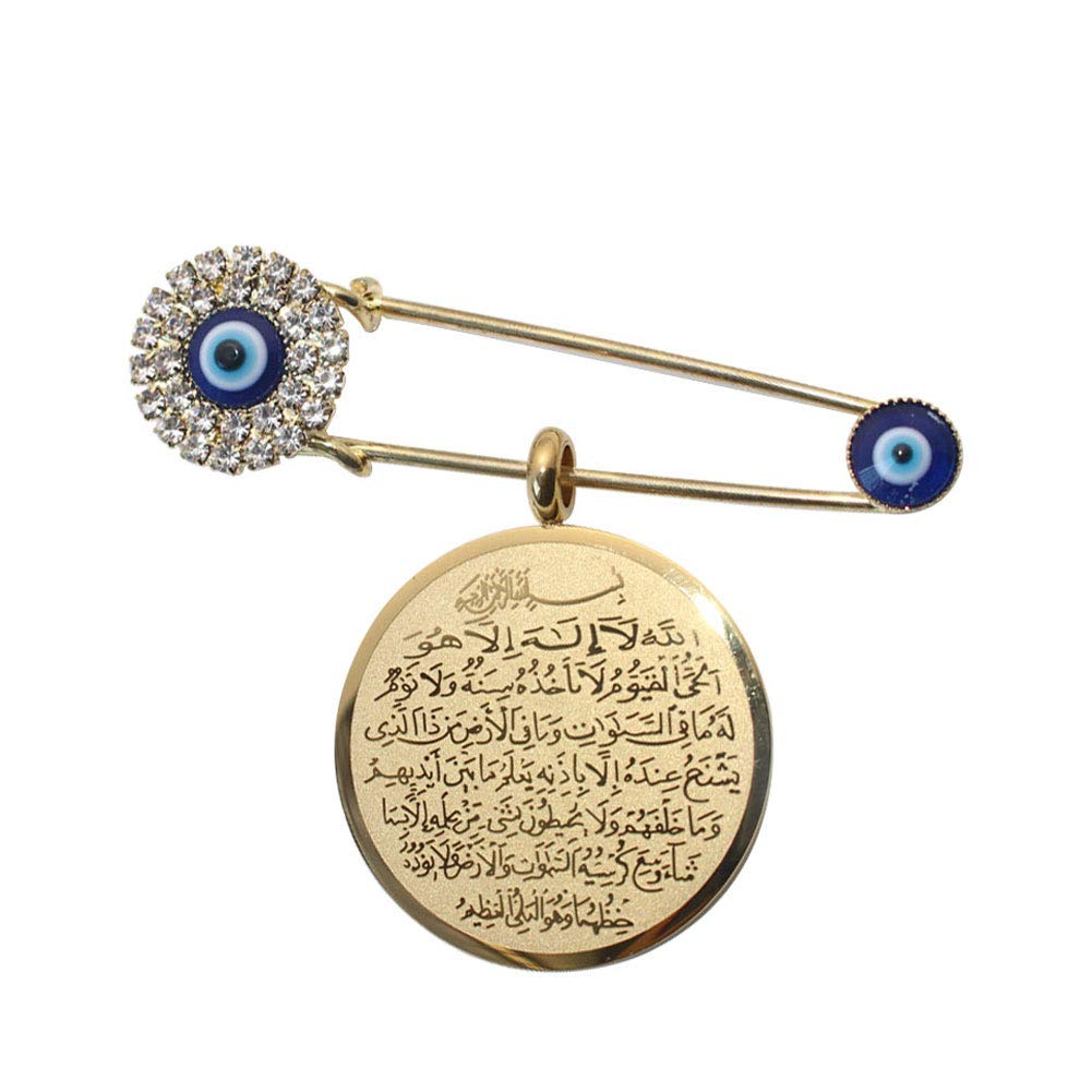 ZKDC Islam Muslim Allah AYATUL KURSI Turkey Evil Eye Stainless Steel Stainless Steel Brooch Pin