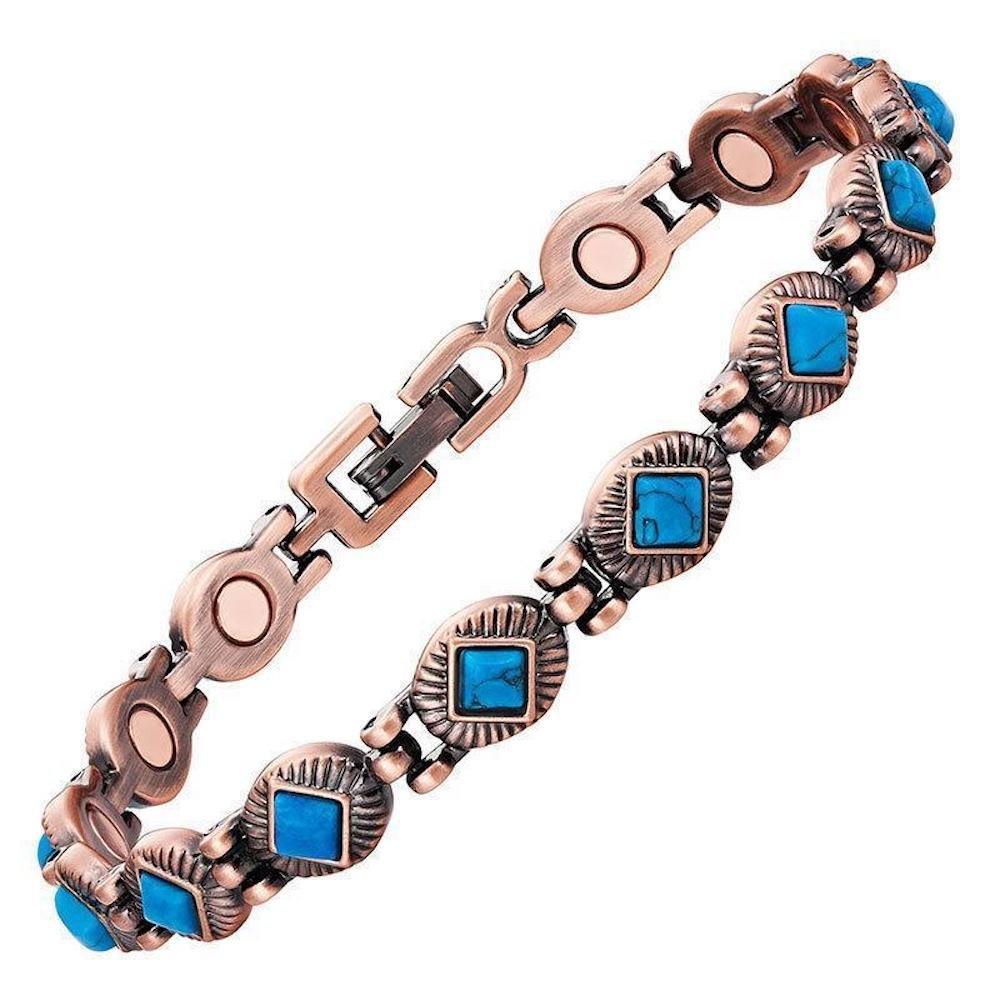 ProExl Copper Link Womens Magnetic Bracelet Turquoise Stones Ventura with Gift Box Excel Bracelets B00M3DMMZI_US