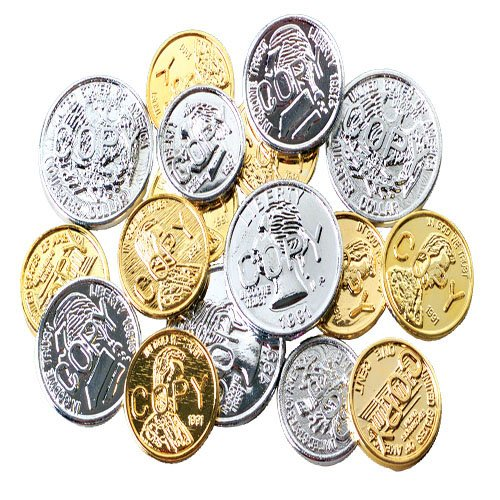 Fake Gold Coins - Lot OF 72 Assorted Color (Gold & Silver) Coins