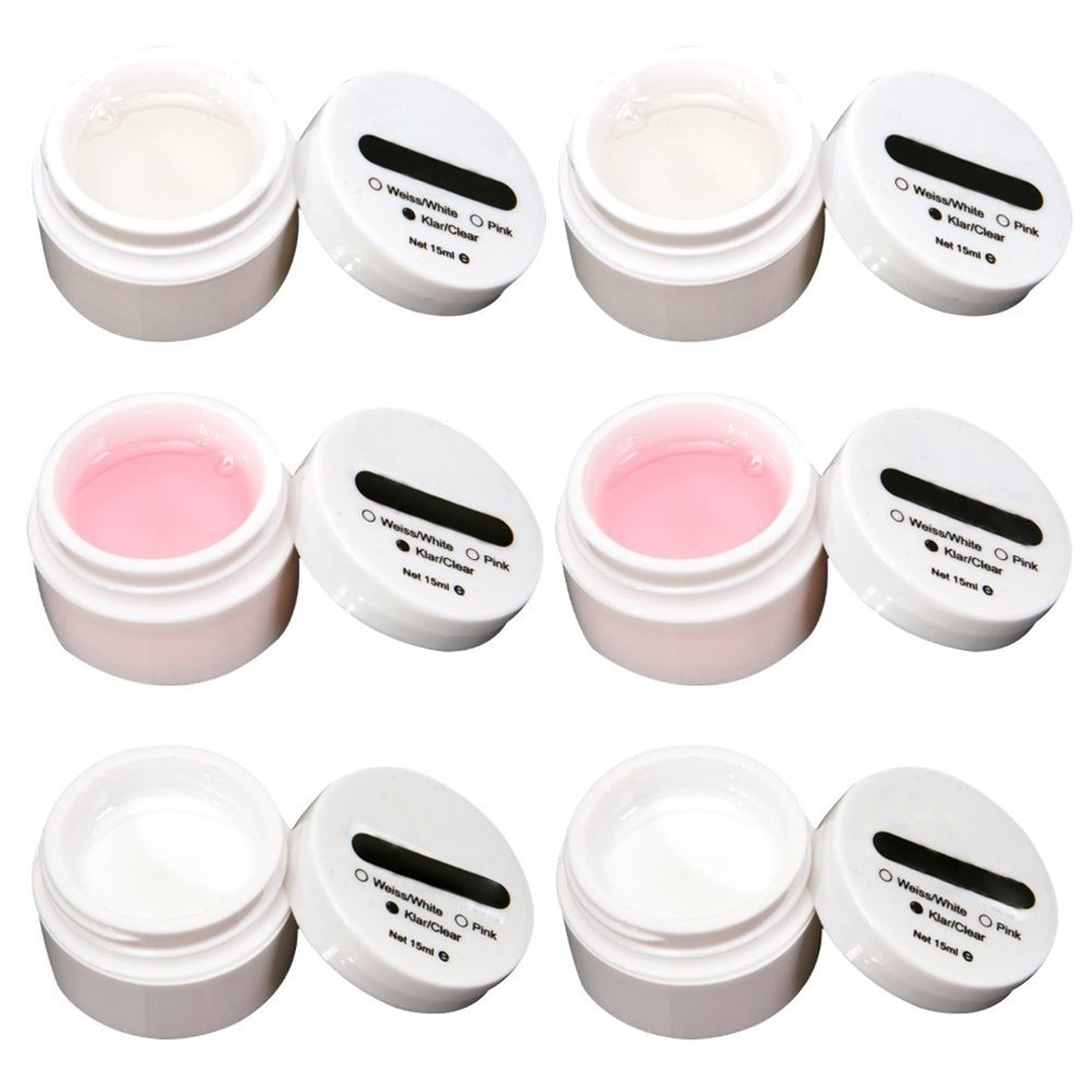 Lot de 6 gels uv pr ongles faux tip french manucure transparent/rose/blanc
