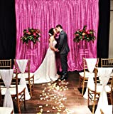 ShinyBeauty 12FTx20FT-Sequin Backdrop-Fuchsia,Sequin Fabrics Photography Curtain,Shimmer Photo Booth Backdrop (Fuchsia)