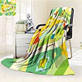 Fleece Blanket 300 GSM Anti-static Super Soft summer activities cartoon illustration with cheerful kids riding and playing ou Warm Fuzzy Bed Blanket Couch Blanket(60''x 50'')