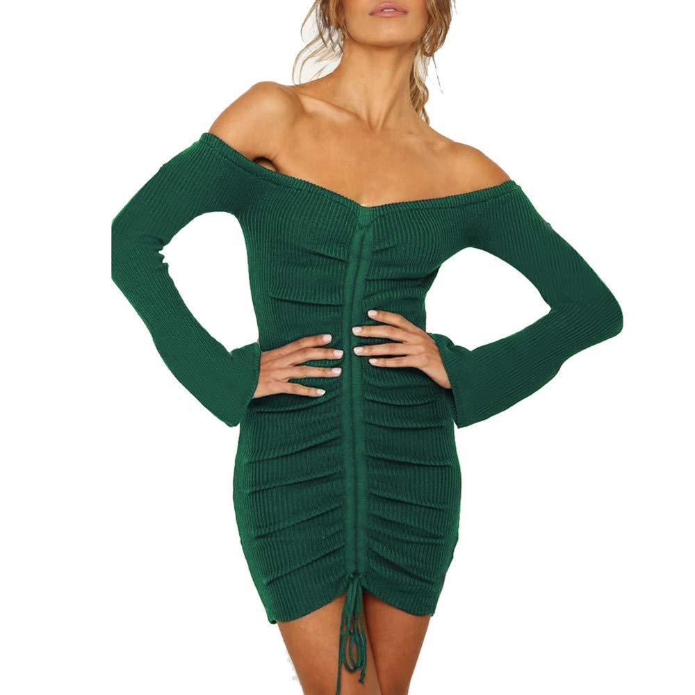 JESPER Womens Long Sleeve Boho Off Shoulder Dress Lady Evening Party Mini Dress Green