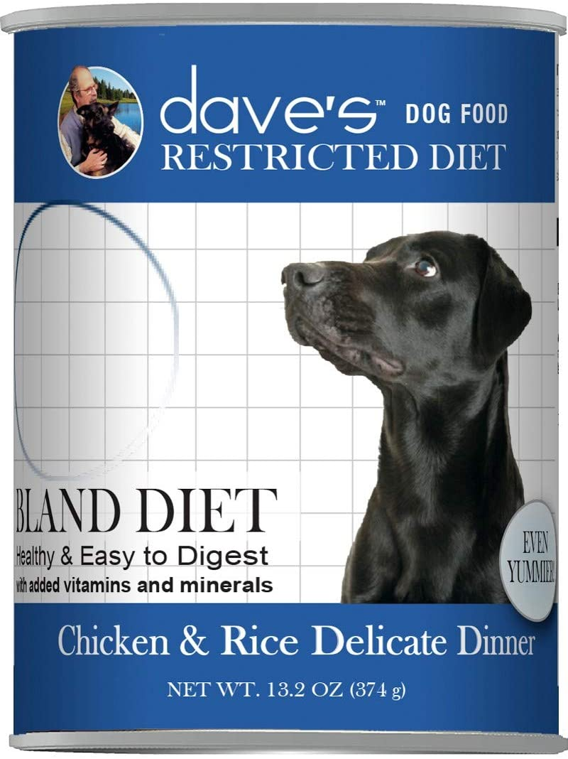Dave's Pet Food Chicken and Rice Delicate Dog Food - Restricted Bland Diet Canned Dog Food for Sensitive Stomachs - 13 Ounce Cans, Case of 12