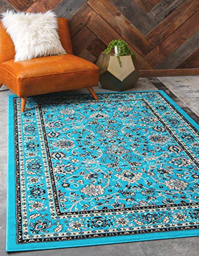 Unique Loom Kashan Collection Traditional Floral Overall Pattern with Border Turquoise Area Rug (9' 0 x 12' 0) (X Rugs Area 10 12)