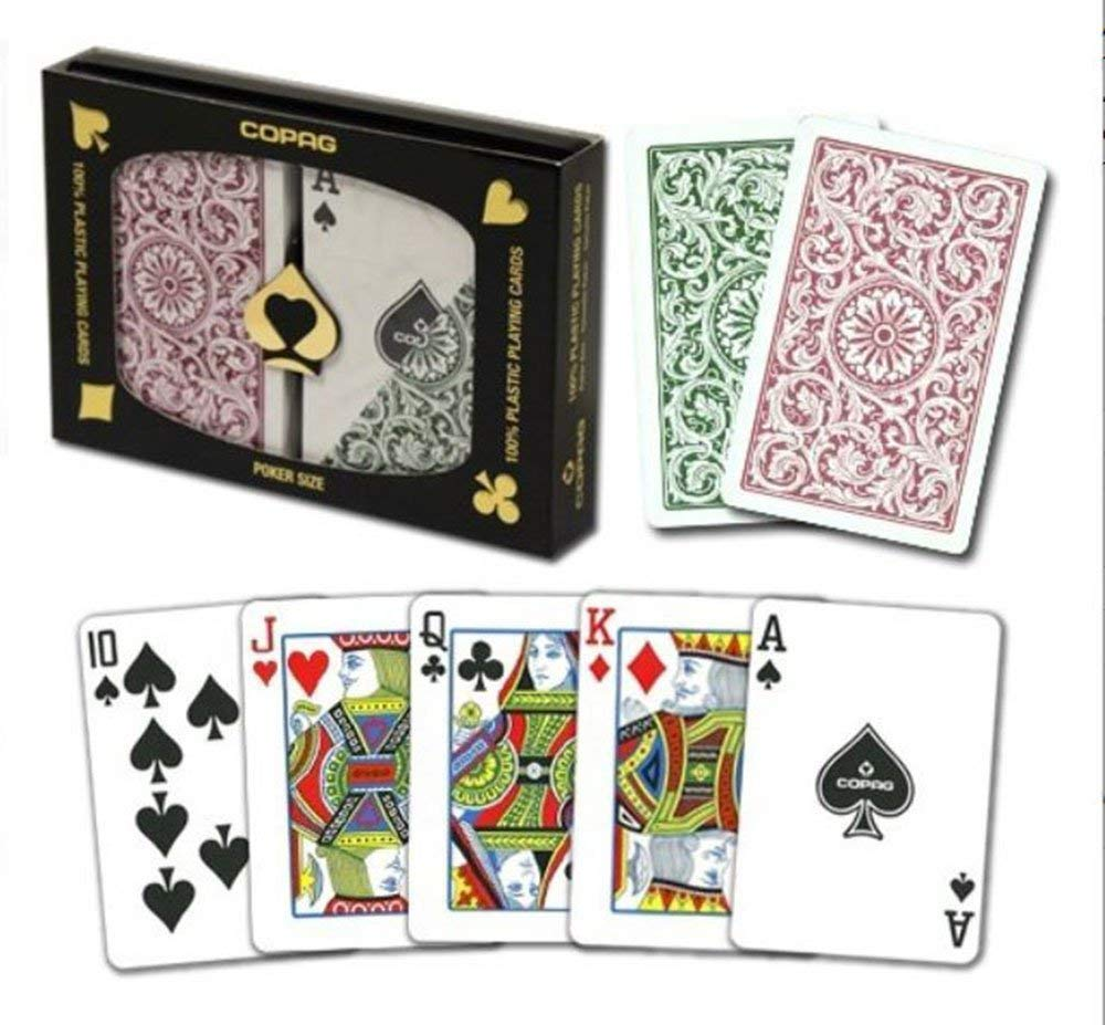 Copag Poker Size Regular Index 1546 Playing Cards (Green Burgundy Setup) by Copag