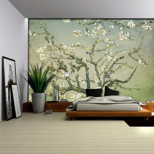Olive Green with Green Vignette Almond Blossom by Vincent Van Gogh Wall Mural