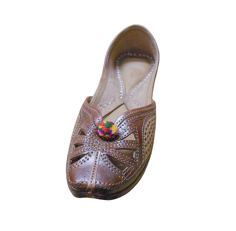 Kalra Creations Women's Traditional Indian Mojari Leather Ethnic Flats