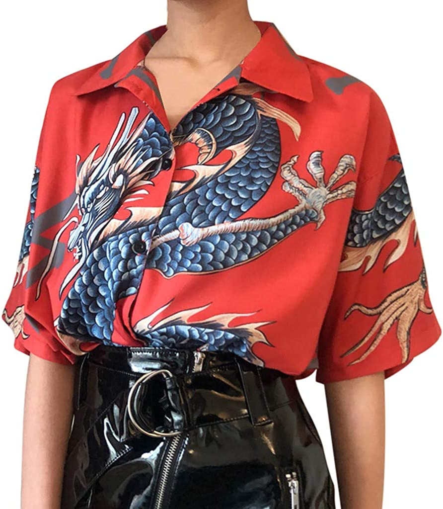 HebeTop Summer Women Tops Harajuku Blouse Women Dragon Print Short Sleeve Blouses Shirts Female Streetwear Orange 61nQTZFQA8L