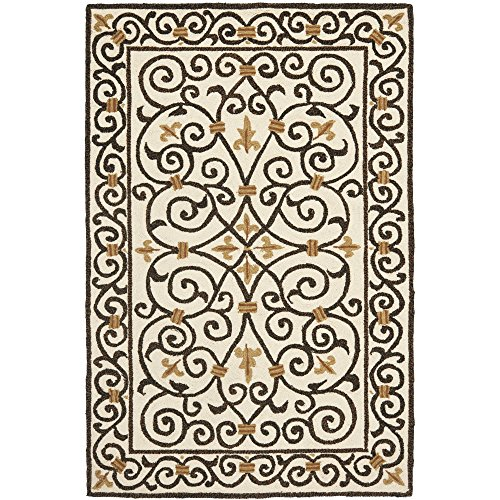 Safavieh Chelsea Collection HK11H Hand-Hooked Ivory and Dark Brown Premium Wool Area Rug (8'9