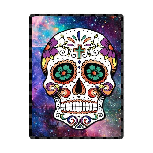 Custom Galaxy Nebula Cool Floral Sugar Skull art Custom Fleece Blanket 58 x 80 (Large) Funny fashion