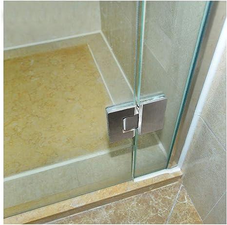 2x Schwere 180 Grad Frameless Duschtürbandhalterung Glas an Glas