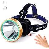 LED Headlamp AUSELECT Sensor Headlight Rechargeable XM-L T6 High Lumen Waterproof 3 Modes LED Flashlight with Power…