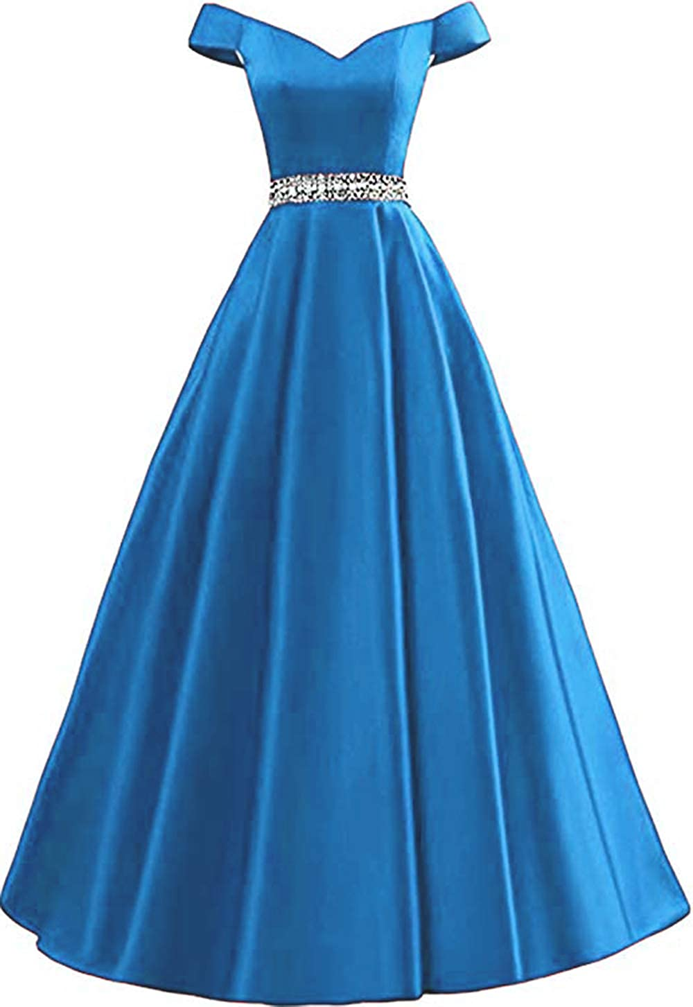 bluee Rmaytiked Women's Off Shoulder Prom Dresses Long 2019 Satin Beaded A Line Formal Evening Ball Gowns with Pockets