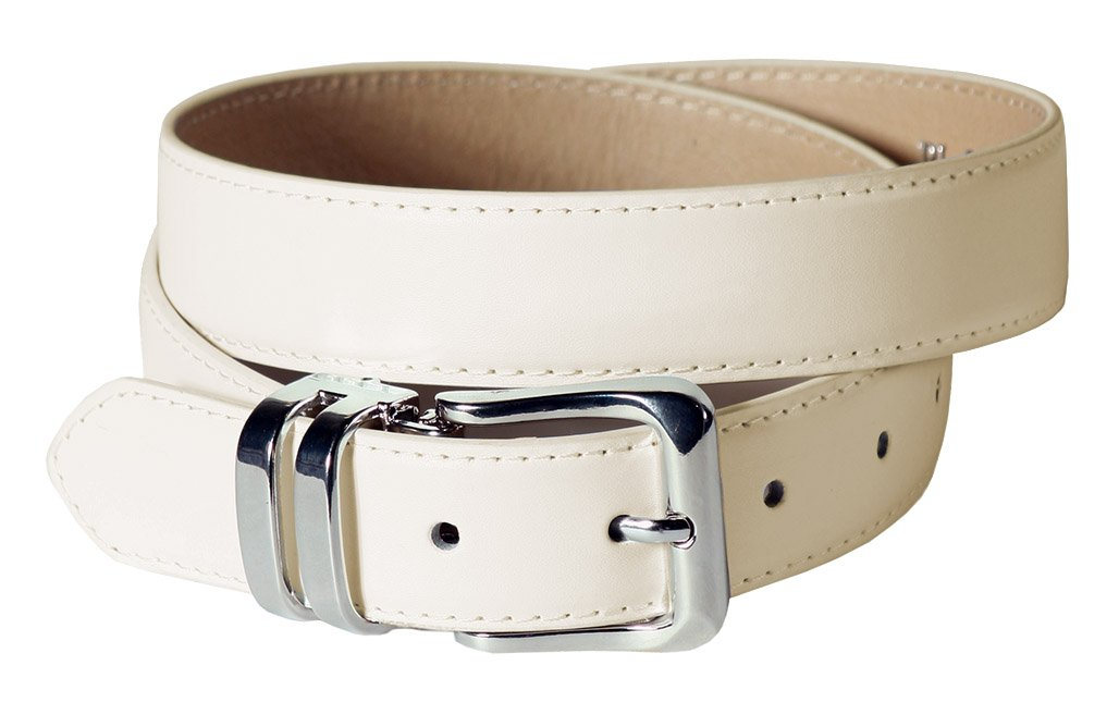 Boys Adjustable Formal Belts in Black, White, Ivory, Khaki, and Chocolate Brown (Ivory)