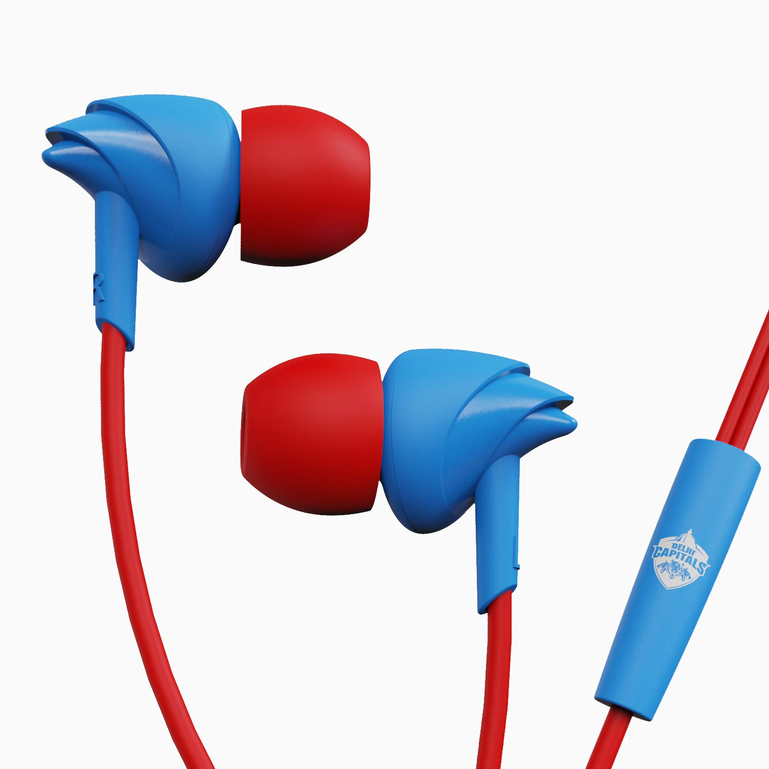 boAt BassHeads 100 Delhi Capitals Edition in-Ear Wired Earphones with Super Extra Bass, in-line Mic, Hawk Inspired Design and Perfect Length Cable(DC Blue)