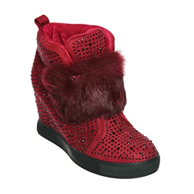 Women's Faux Fur strap Wedge Ankle Sneaker Bootie with Rhinestone Embellishment
