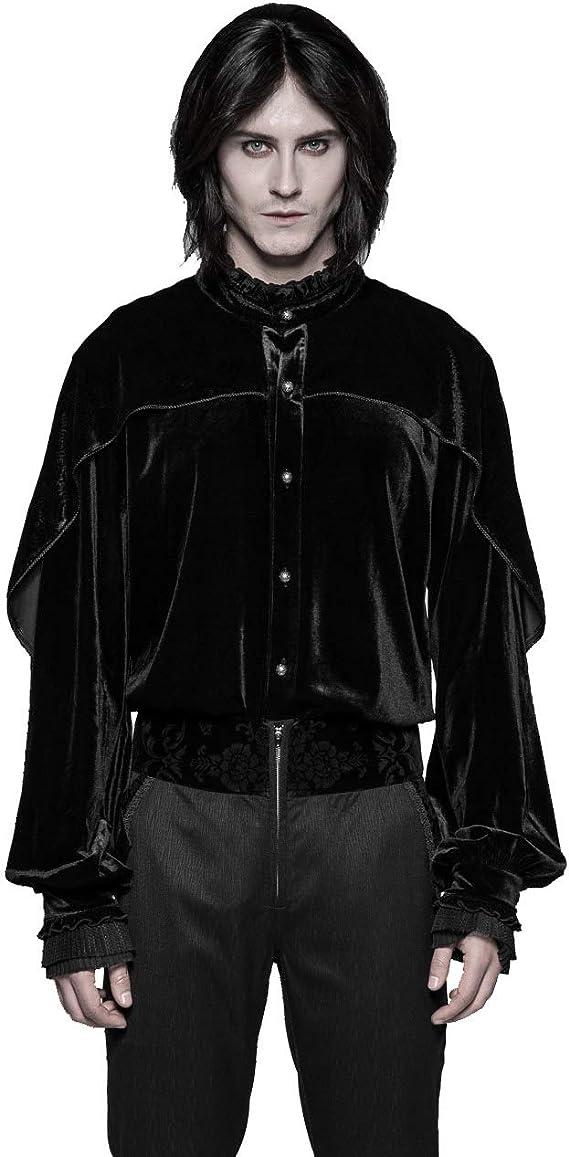 Punk Rave - Camisa de terciopelo gótico para hombre, diseño victoriano, color negro Negro Negro (3XL: Amazon.es: Ropa y accesorios