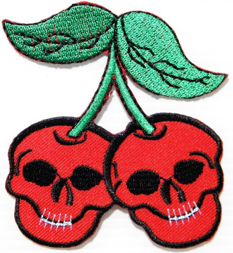 Empire Records Costume - Love Never Die Cherry Skull Ghost Skeleton Rockabilly Punk Rock Heavy Metal Jacket T-shirt Patch Sew Iron on Embroidered Sign Badge