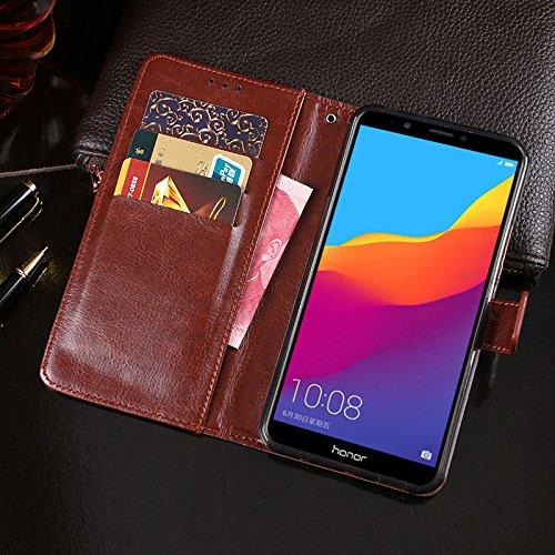 COQUE Caja del teléfono de Huawei Honor 7C, billetera del tirón del cuero de imitación del estilo del libro con la caja de la ranura para tarjeta para Huawei Honor 7C(Cielo azul) Amarillo