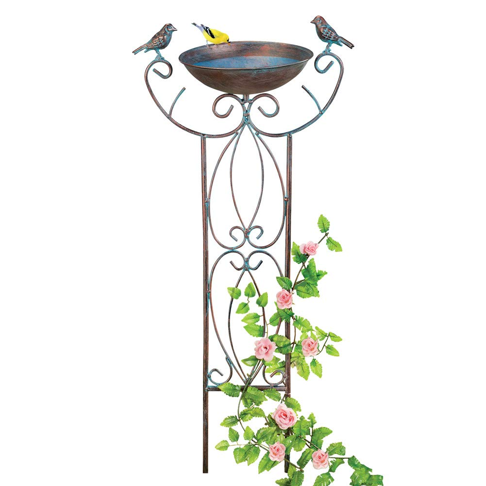 Antique Copper-Colored Birdbath Trellis with Scrollwork Design - Seasonal Outdoor Dé cor Winston Brands
