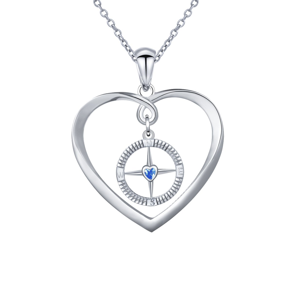 DAOCHONG Sterling Silver Compass Necklace on Enjoy The Journey, Pendant for Travel, Long Distance, Graduation Gift, 18''