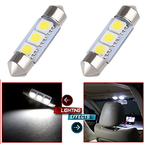 cciyu 2 x Blanco 36 mm 3-SMD 5050 Festoon Luz LED bombillas lámpara DE3423