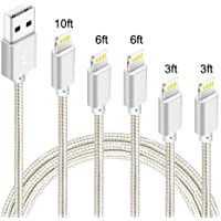 5-Pack IDiSON iPhone Lightning Apple MFi Certified Braided Nylon Fast Charger Cable (Silver) (3ft 3ft 6ft 6ft 10ft)