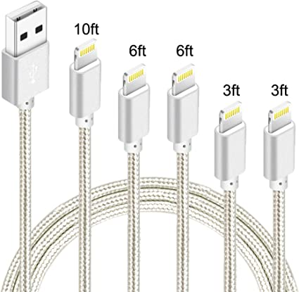Charging /& Syncing Cord iPhone Lightning Cable Set for Apple iPhone Xs,Xs Max,XR,X,8,8 Plus,7,7 Plus,6S,6S Plus,iPad Air,Mini//iPod Touch//Case MFI Infinite Power 5 Pack 3FT USB Cable