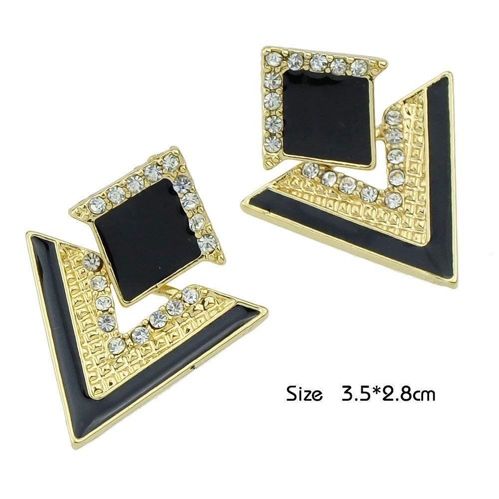 Glitz Jewellery Designer Hanging Fancy Party Wear Drop Earrings for Girls and Women Black
