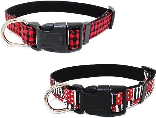 Newtensina Moda 2 Piezas Collar de Perro Set Suave Patrón de Cuadros Bandera Patrón Lona Collares de Cachorro para Perros: Amazon.es: Productos para mascotas