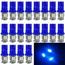 EverBright 20PCS Blue T10 / 194 168 W5W 5 SMD 5050 LED Bulb Suitable For Car Replacement Lights Clearance Wedge / License Plate / Instrument Lamp Door / Width / Reading Light Interior Lamp Car Replacement Lights Bulb for All T10 Interface