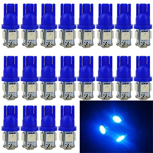 EverBright 20-Pack Blue T10 194 168 2825 W5W 5050 5-SMD LED Bulb For Car Replacement Interior Lights Clearance Wedge Dome Trunk Dashboard Bulb License Plate Light Lamp  DC 12V