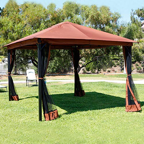 (Barton 10' x 12' ft Metal Patio Gazebo Canopy Opt W/Mosquito Flys Net UV-Resistant Stand Backyard Sun Shade Netting)