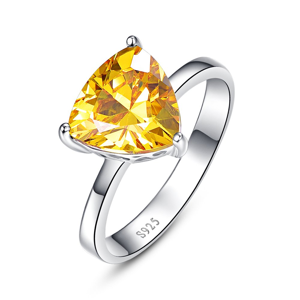 BONLAVIE Women's Created Yellow Citrine Solitaire Style Ring Sterling Silver 6.15 Carats Sizes 6 to 9 Size 7