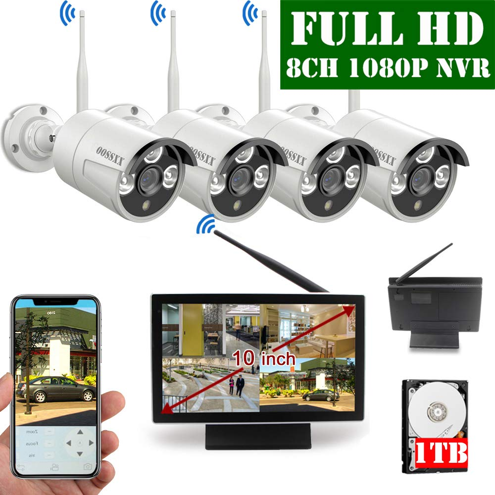 【2019 Update】 10 inch Screen HD 1080P 8-Channel Outdoor Wireless Security Camera System,4pcs 1080P Wireless IP67 Weatherproof IP Cameras,70FT Night Vision,P2P,App, 1TB Hard Drive by OOSSXX