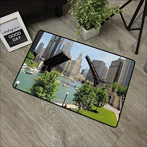 Moses Whitehead Floor Mat Rug United States,Downtown Chicago Illinois Finance Business Center Lake Michigan Avenue Bridge,Multicolor,Low Profile Door Mat - Welcome - Front Door, Garage, Patio,24