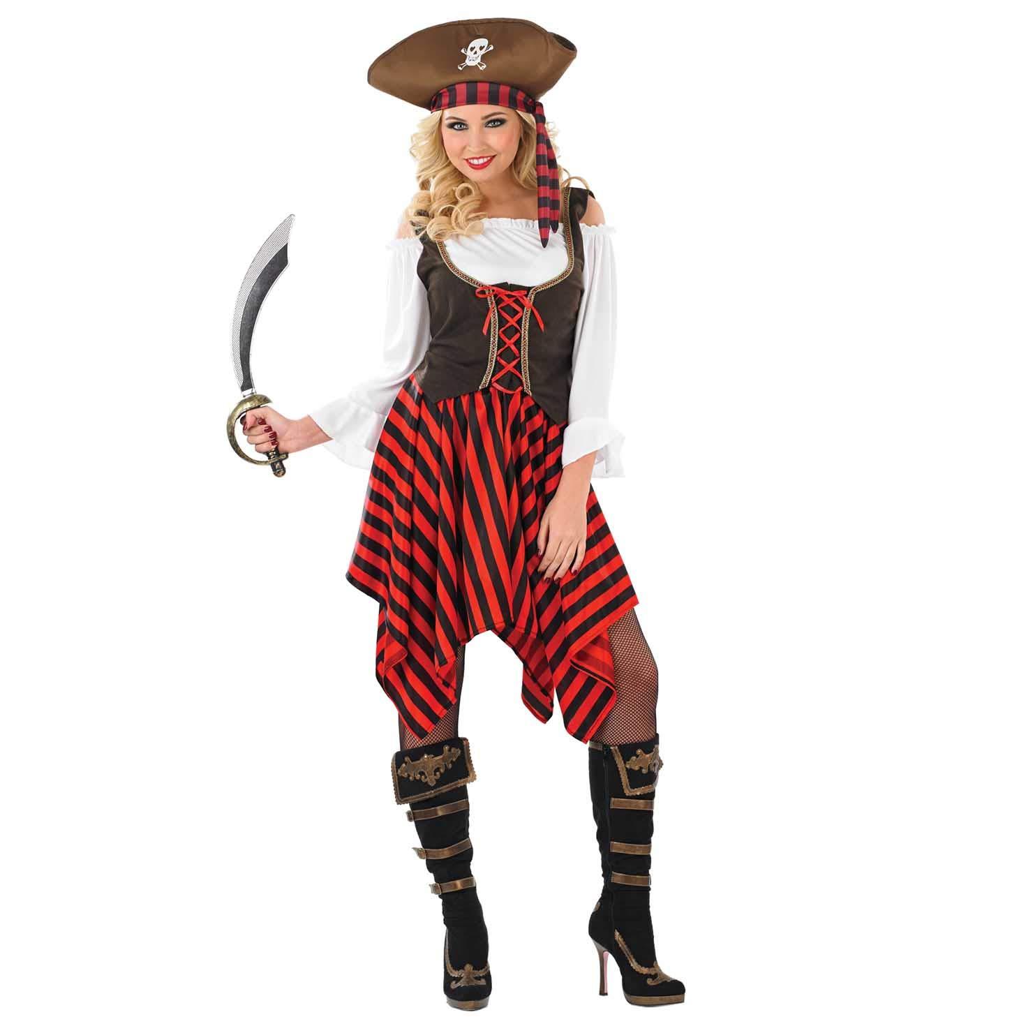 Fun Shack Roja Capitán Pirata Disfraz para Mujeres: Amazon.es ...