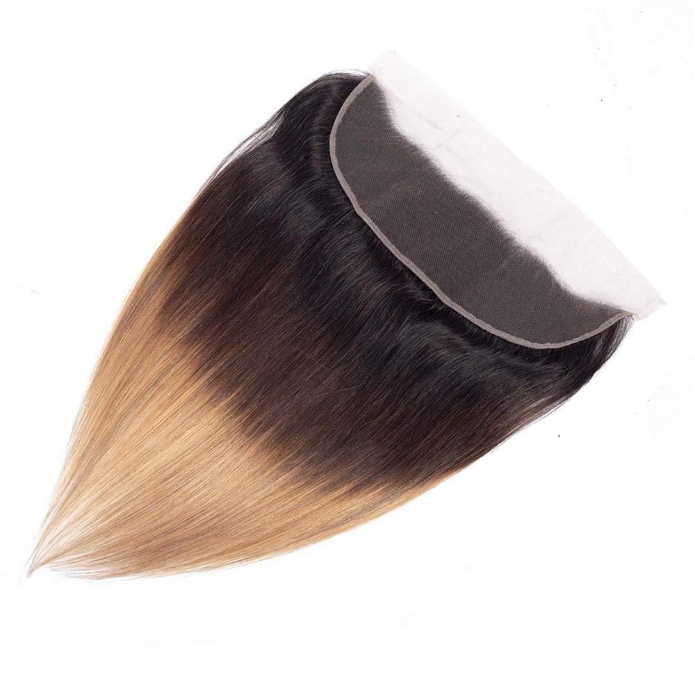 Yrattary レースの閉鎖とストレートオンブルバージンヘア - ブラウン3トーンカラーヘアエクステンション織り横糸ファッションウィッグ (色 : ブラウン, サイズ : 16 inch) B07QNB5B49 ブラウン 16 inch