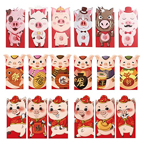 Red Envelopes Designed for Chinese New Year Spring Festival Holiday Christmas Letters Animal Cartoon Prints (A 2019 Pigs 18pcs) -