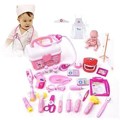 happygirr Juguetes educativos,28pcs Niños Bebé Médico Juego Médico Medicina De Simulación Caja De Juguetes De Atención Médica Estetoscopio Toolbox Juego De rol Toy Kit (Rosa Azul): Hogar