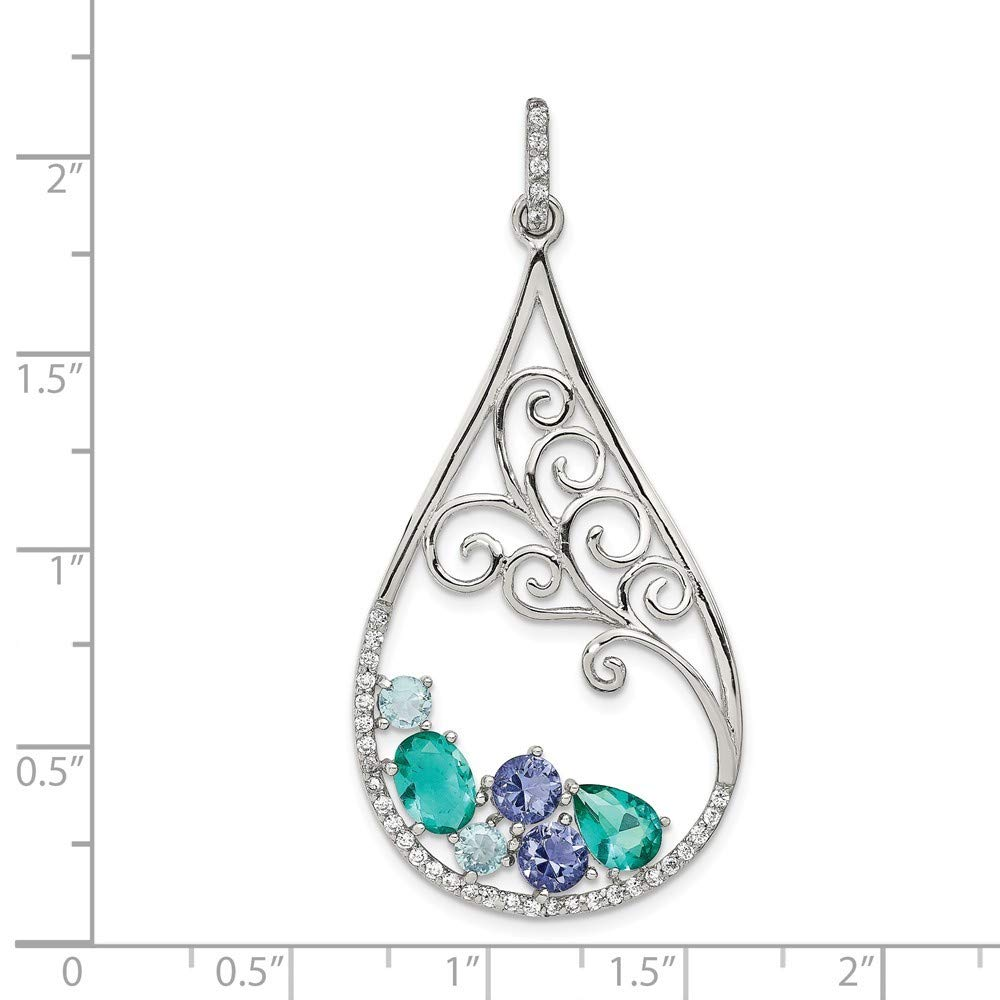925 Sterling Silver Polished Cubic Zirconia and Blue And Green Syn Stone Pendant