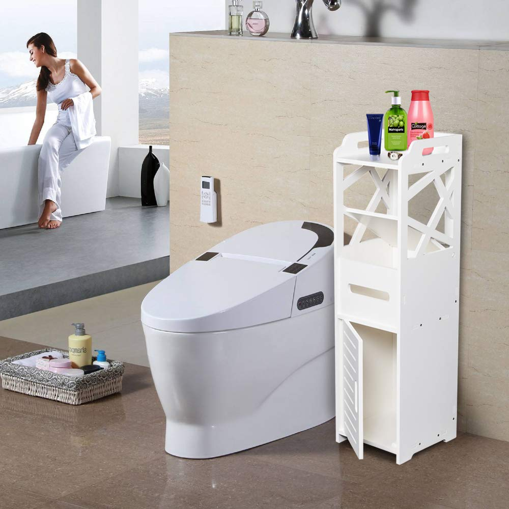 Henf Narrow Slim Storage Cart and Organizer, 3-Tier Bathroom Kitchen Storage Cabinet with 2 Doors for Bathroom 232380CM White
