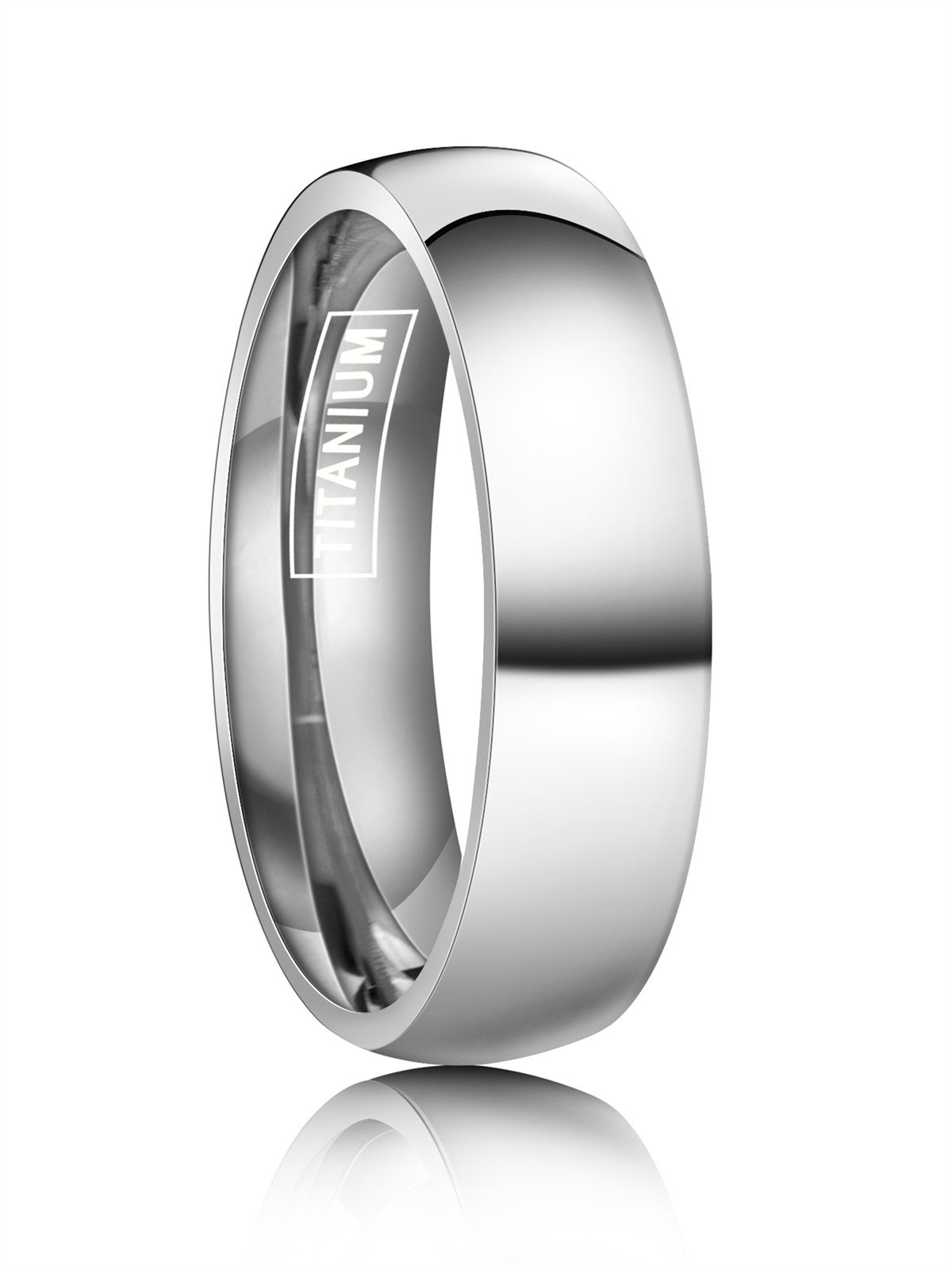 Just Lsy 6mm Silver Titanium Rings Plain Dome High Polished Wedding Band in Comfort Fit Size 12.5 Lsy-005