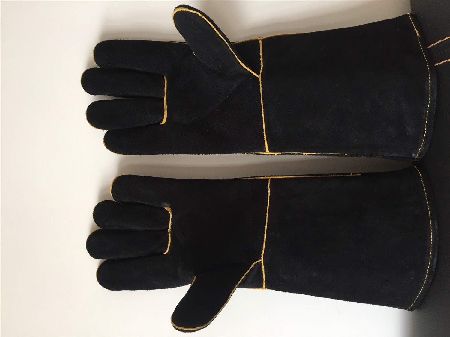 Extreme Heat & Fire Resistant Gloves Leather Perfect for Fireplace, Stove, Oven Mitt, Grill Pit, Welding, Furnace,BBQ,Mig, Pot Holder,Black,16 Inch Home & Kitchen (Color : Black, Size : L-One Pair) by YAOSHIBIAN-Oven Mitts (Image #6)