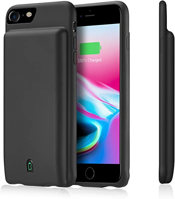 Ekrist Battery Case for iPhone 6//6s//7//8, Extended Rechargeable Smart Battery Pack Rose Backup Charger Case Power Bank Cover Portable Ultra-Slim Protective Charging Case Upgraded 6000mAh