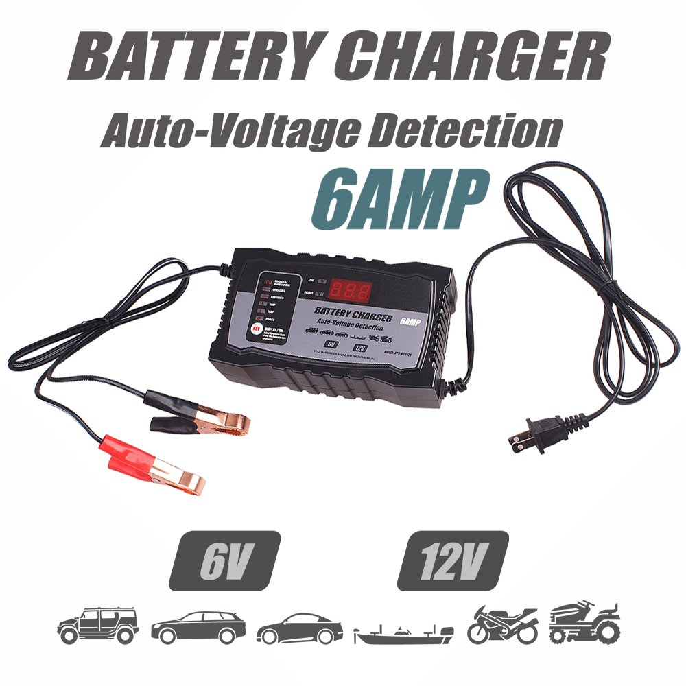 Katbo 2amp 6 Amp Battery Charger 6v 12v Auto Voltage Gel Cell Circuit Diagram Detectionlead Acid Float Maintainer With Lcd Display For Motorcycle Car